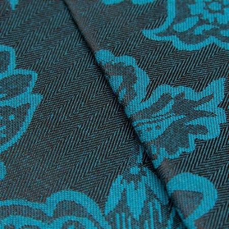 Tecido Jacquard Algodão Impermeabilizado Floral Azul Preto - Pan 02