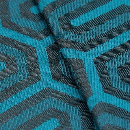 Tecido Jacquard Algodão Impermeabilizado Geometrico Azul Preto - Pan 04