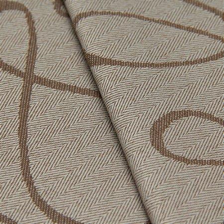Tecido Jacquard Algodão Impermeabilizado Linhas Bege e Marrom Claro - Pan 18