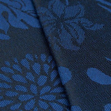 Tecido Jacquard Algodão Impermeabilizado Floral Azul escuro e Royal - Pan 24