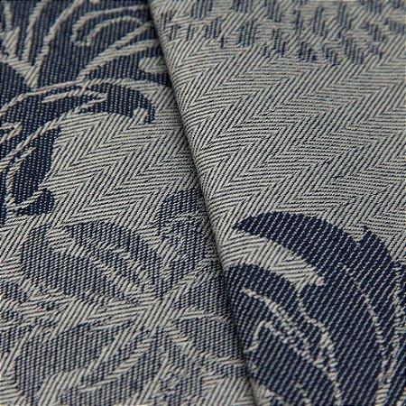 Tecido Jacquard Algodão Impermeabilizado Floral  Cinza Azul  - Pan 38