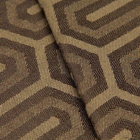 Tecido Jacquard Algodão Impermeabilizado Geometrico Marrom e Bege - Pan 47