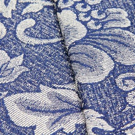 Tecido Jacquard Floral Azul e Cinza - Marrocos 04