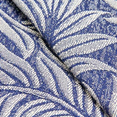 Tecido Jacquard Folhagem Azul e Cinza - Marrocos 06