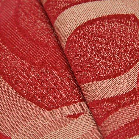 Tecido Jacquard Circulos Vermelho e Creme - Marrocos 15