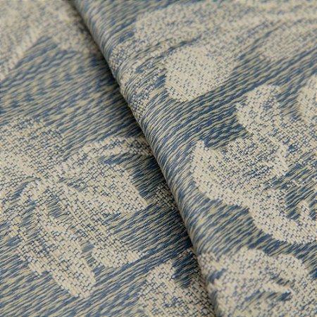 Tecido Jacquard Mescla Floral Azul e Bege - Flórida 31