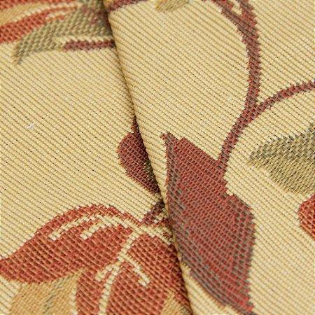 Tecido Gobelin Floral Bege e Tons de Tijolo e Marrom - Flórida 47