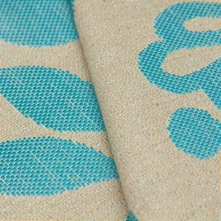 Tecido algodão Jacquard Impermeabilizado Cru Floral Turquesa - Aus 05