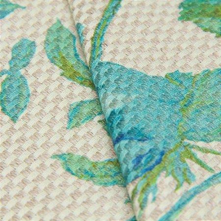 Tecido Linho Impermeabilizado Floral Turquesa Trama Cru - Aus 10
