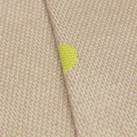 Tecido algodão Jacquard Impermeabilizado Linho Bege com circulos Amarelo Limão - Aus 19