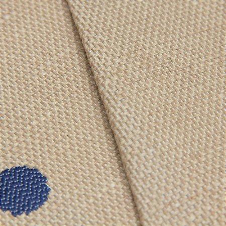 Tecido algodão Jacquard Impermeabilizado Cru Escuro e Bolas Marinho - Aus 37