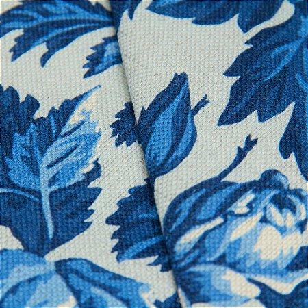 Tecido linho Jacquard Impermeabilizado Floral tons de Azul - Aus 41