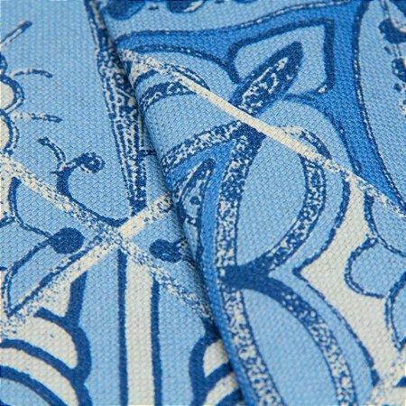 Tecido linho Jacquard Impermeabilizado Ladrilho hidraúlico Azul - Aus 42