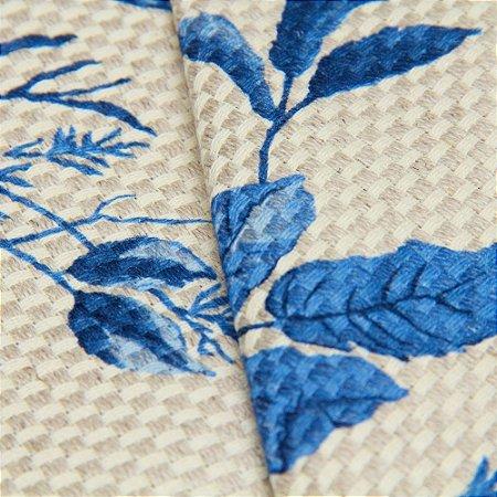 Tecido linho Jacquard Impermeabilizado Trama Floral Azul - Aus 43