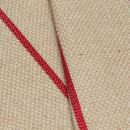 Tecido linho Jacquard Impermeabilizado Bege Escuro e linhas Vermelho - Aus 45