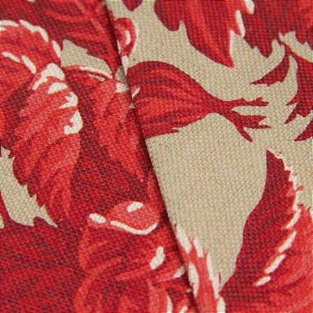 Tecido linho Jacquard Impermeabilizado Floral Vermelho com Bege - Aus 48