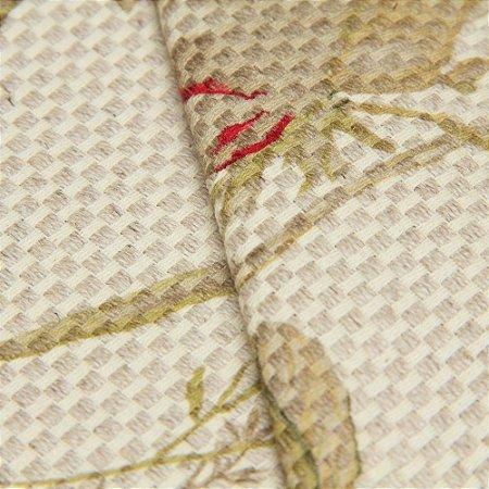 Tecido linho Jacquard Impermeabilizado Trama Cru floral Verde e Vermelho - Aus 50