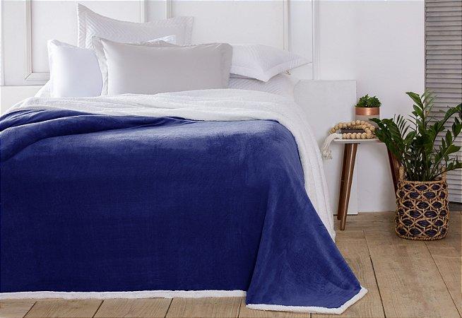Manta Casal Áustria Azul Marinho Corttex Sherpa Design 1,80 x 2,20mt