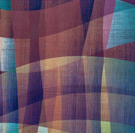 Tecido Sintético Macio Abstrato Azul, Pink e Amarelo - Ametista 01