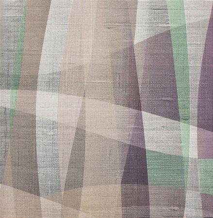 Tecido Sintético Macio Abstrato Verde, Lilás e Creme - Ametista 09