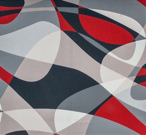 Tecido Sintético Macio Abstrato Vermelho, Cinza e Creme - Ametista 30