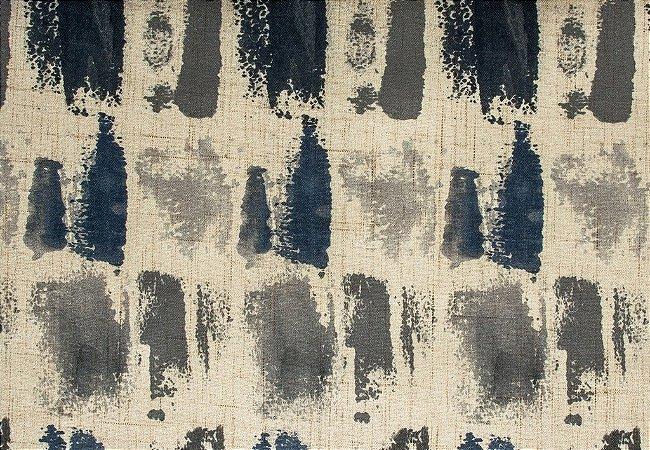 Tecido Estampado Abstrato Creme, Cinza e Azul Marinho - Hava 03