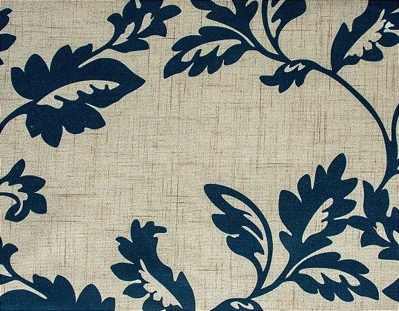 Tecido Estampado Folhas Azul Marinho - Hava 04