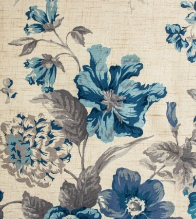 Tecido Estampado Floral Azul, Cinza e Creme - Hava 06