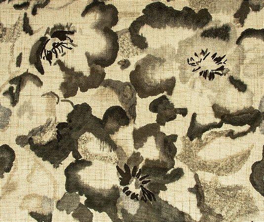 Tecido Estampado Abstrato Floral Fendi e Creme - Hava 18