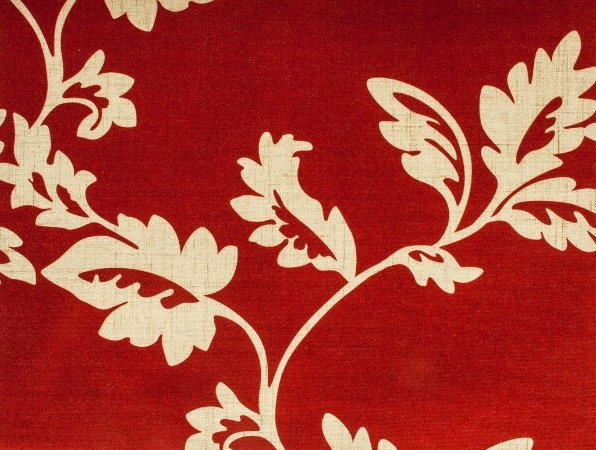 Tecido Estampado Folhas Vermelho e Areia - Hava 23