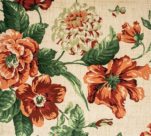 Tecido Estampado Floral Laranja, Bordô e Areia - Hava 25