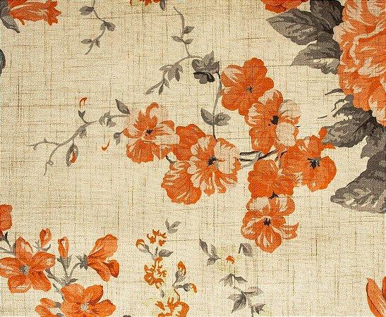 tecido Estampado Floral Laranja, Cinza e Areia - Hava 29
