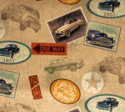 Tecido Estampado Vintage Retro Carros - Hava 30