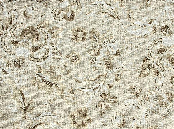 Tecido Linho Floral Branco e Creme - Hava 31