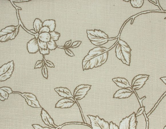 Tecido Linho Folhas e Flores Branco e Creme - Hava 32