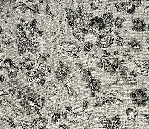 Tecido Linho Floral Cinza e Branco - Hava 35