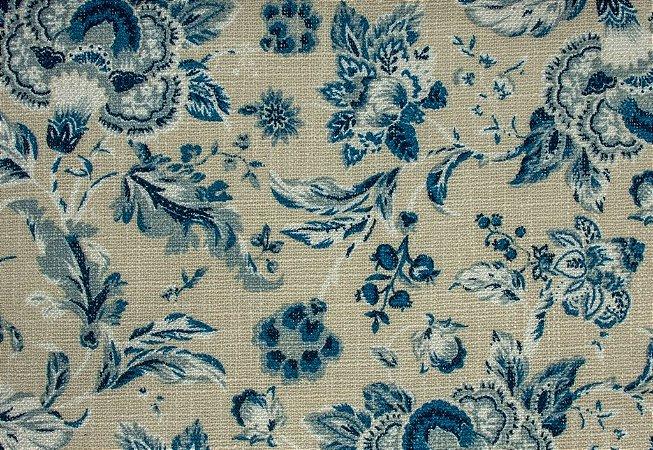 Tecido Linho Floral Areia e Azul - Hava 37