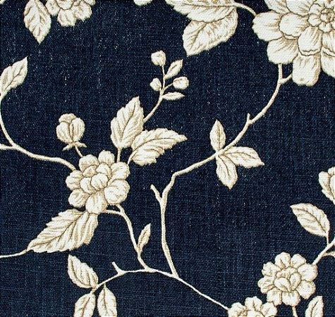 Tecido Linho Folhas e Flores Jeans e Creme - Hava 40