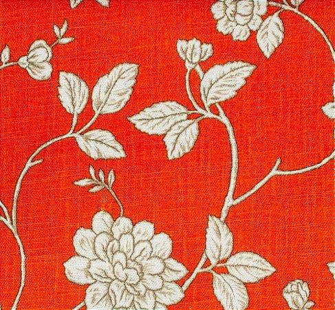 Tecido Linho Folhas e Flores Laranja e Creme - Hava 44