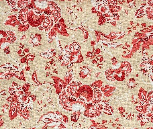 tecido Linho Floral Vermelho e Areia - Hava 45