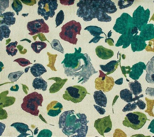 Tecido Gold Abstrato Floral Verde, Vinho e Champanhe - Hava 56