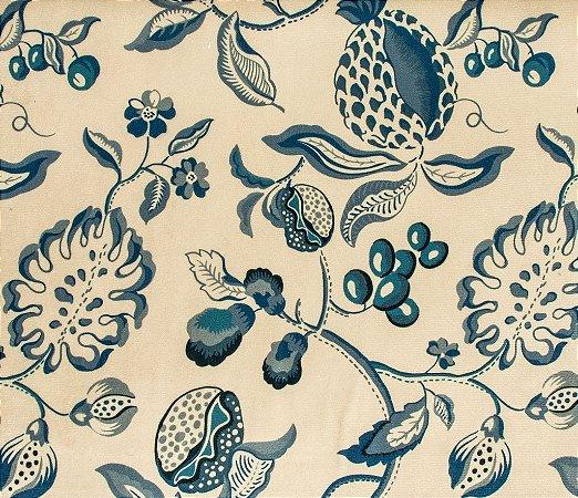 Tecido Veludo Floral Azul e Creme - Hava 69