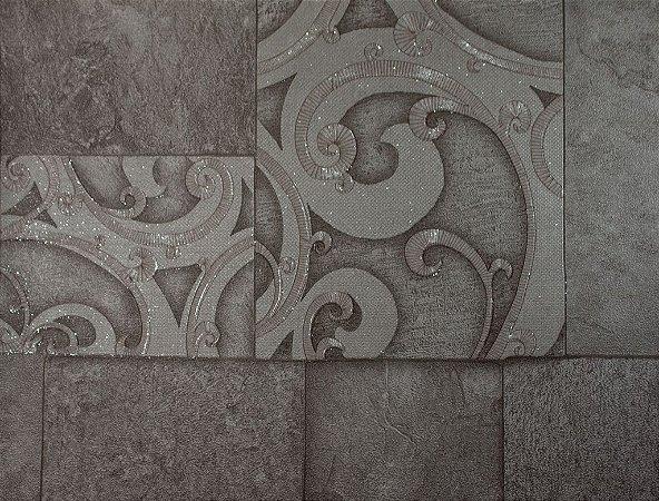 Papel de Parede Moda em Casa Cimento Queimado com Quadrados e Glitter - 7136