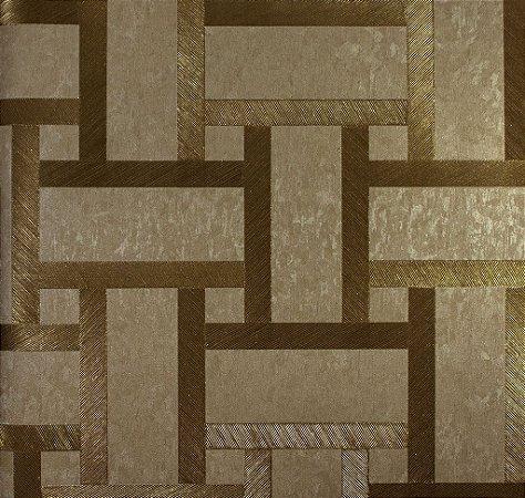 Papel de Parede Moda Em Casa Bege Escuro, Dourado com Glitter - 7185
