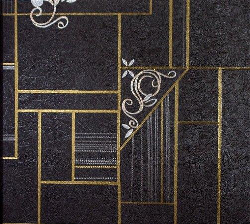 Papel de Parede Moda Em Casa Preto, Dourado com Glitter - 7117
