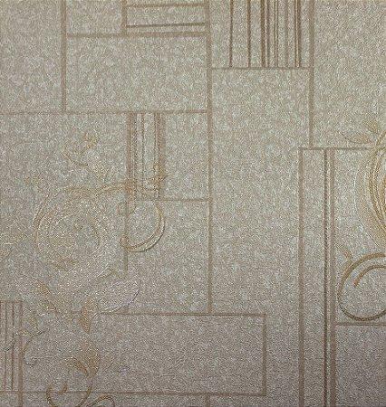Papel de Parede Moda Em Casa Creme, Bege e Dourado com Glitter - 7111