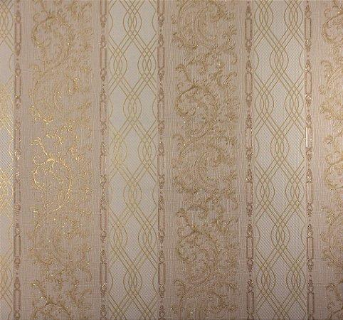 Papel de Parede Moda Em Casa Bege com Tnaças Douradas e Glitter - 7171