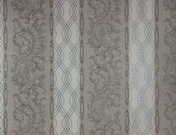 Papel de Parede Moda Em Casa Branco, Cinza com Tranças em Prata e Glitter - 7172