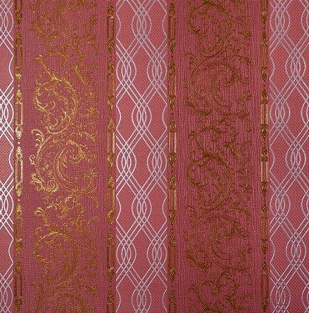Papel de Parede Moda Em Casa Tijolo, Dourado com Tranças Prata e Glitter - 7175