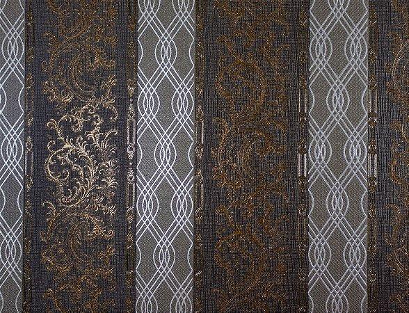 Papel de Parede Moda Em Casa Chumbo, Dourado com Tranças Prata e Glitter - 7177